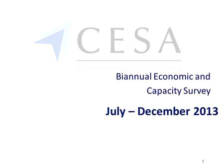 July – December 2013 Biannual Economic and Capacity Survey 1.