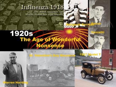 1920s The Age of Wonderful Nonsense Margaret Gorman Sacco Vanzetti Warren Harding St. Valentine's Day Massacre 1927 Model T.