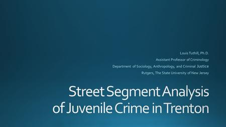 Incidents of Juvenile Arrests January 2009 - May 2014.