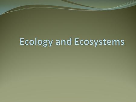 Objectives 1. Define ecology and ecosystems. 2. Explain natural selection and succession. 3. Define homeostasis. 4. Identify communities found in nature.