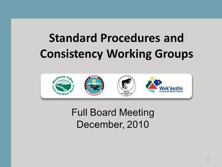 Standard Procedures and Consistency Working Groups Full Board Meeting December, 2010 1.