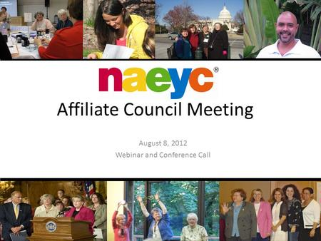 Affiliate Council Meeting August 8, 2012 Webinar and Conference Call.