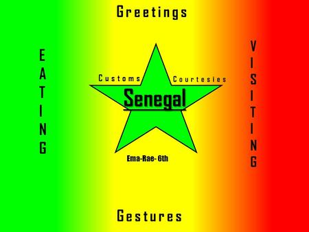 Senegal Customs Courtesies Greetings Gestures VISITINGVISITING EATINGEATING Ema-Rae- 6th.