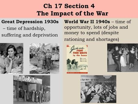 Ch 17 Section 4 The Impact of the War