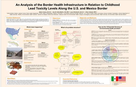 Problem Statement: Childhood lead exposure is a border health priority in the United States. In Mexico the lack of screening and research on childhood.