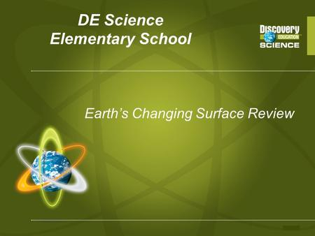 DE Science Elementary School Earth's Changing Surface Review.