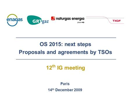 OS 2015: next steps Proposals and agreements by TSOs 12 th IG meeting Paris 14 th December 2009.