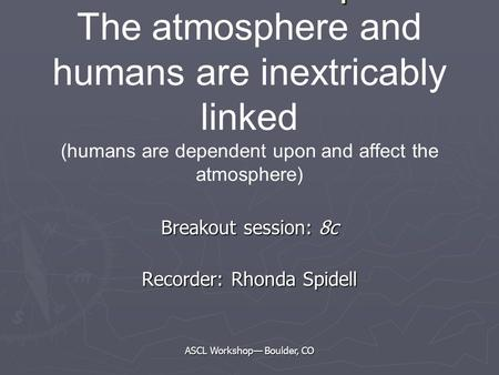 ASCL Workshop— Boulder, CO Essential Principals Essential Principals The atmosphere and humans are inextricably linked (humans are dependent upon and affect.