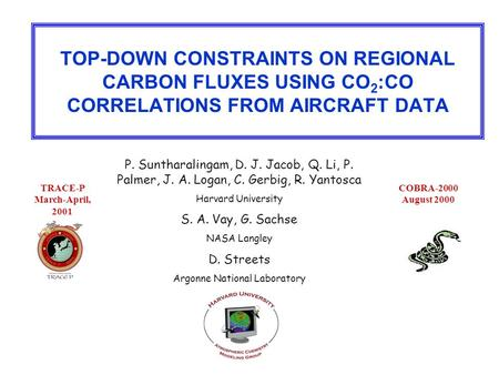 TOP-DOWN CONSTRAINTS ON REGIONAL CARBON FLUXES USING CO 2 :CO CORRELATIONS FROM AIRCRAFT DATA P. Suntharalingam, D. J. Jacob, Q. Li, P. Palmer, J. A. Logan,