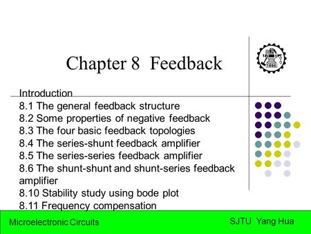 Microelectronic Circuits SJTU Yang Hua Chapter 8 Feedback Introduction 8.1 The general feedback structure 8.2 Some properties of negative feedback 8.3.