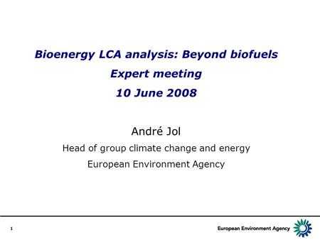 1 Bioenergy LCA analysis: Beyond biofuels Expert meeting 10 June 2008 André Jol Head of group climate change and energy European Environment Agency.