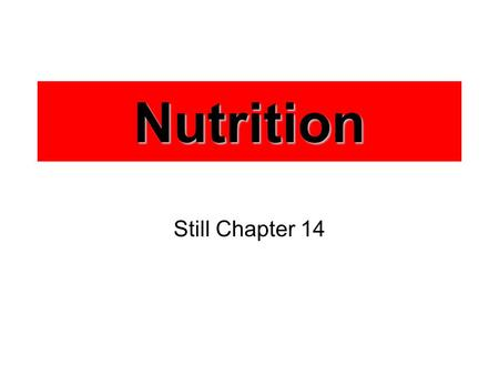 Nutrition Still Chapter 14. Calorie Energy contained in food and drinks Amount of energy needed to raise the temperature of 1 gram of water by 1C Recommended.