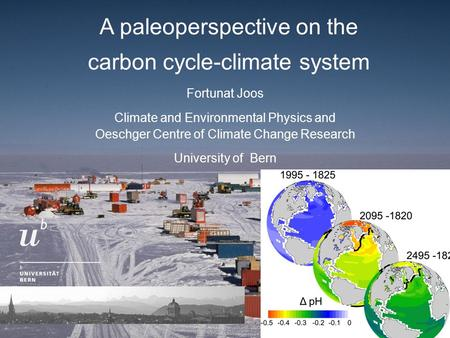 A paleoperspective on the carbon cycle-climate system Fortunat Joos Climate and Environmental Physics and Oeschger Centre of Climate Change Research University.