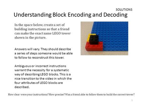Understanding Block Encoding and Decoding In the space below, create a set of building instructions so that a friend can make the exact same LEGO tower.