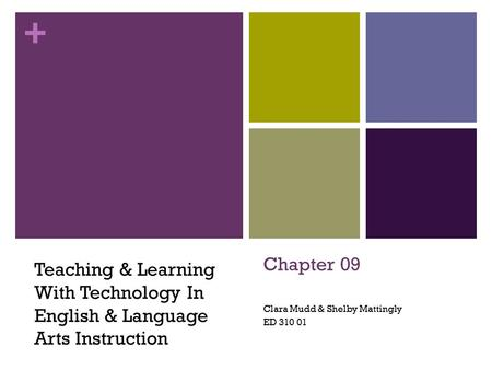 + Chapter 09 Clara Mudd & Shelby Mattingly ED 310 01 Teaching & Learning With Technology In English & Language Arts Instruction.