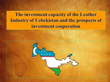 The investment capacity of the Leather Industry of Uzbekistan and the prospects of investment cooperation.
