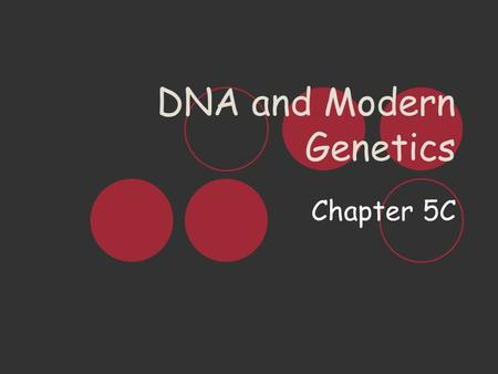 DNA and Modern Genetics Chapter 5C. D eoxyribo N ucleic A cid DNA is a molecule that stores information that a cell needs to function, grow, & divide.