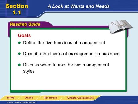 Goals Define the five functions of management Describe the levels of management in business Discuss when to use the two management styles.