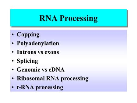 RNA Processing Capping Polyadenylation Introns vs exons Splicing
