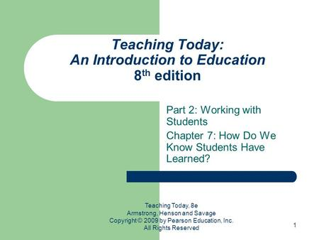 Teaching Today: An Introduction to Education 8th edition