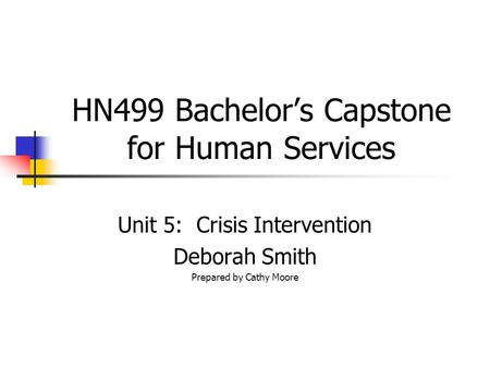 HN499 Bachelor's Capstone for Human Services