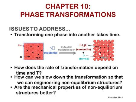 Chapter 10- ISSUES TO ADDRESS... Transforming one phase into another takes time. How does the rate of transformation depend on time and T? 1 How can we.