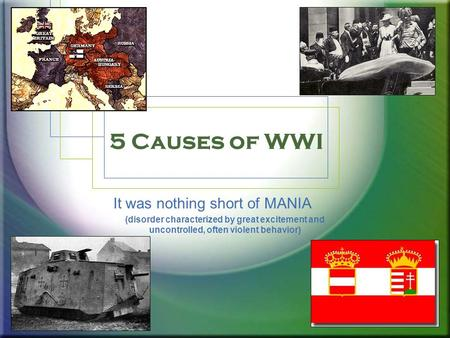5 Causes of WWI It was nothing short of MANIA (disorder characterized by great excitement and uncontrolled, often violent behavior)
