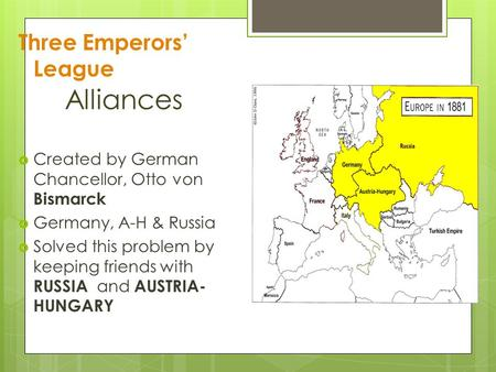 Alliances Three Emperors' League  Created by German Chancellor, Otto von Bismarck  Germany, A-H & Russia  Solved this problem by keeping friends with.