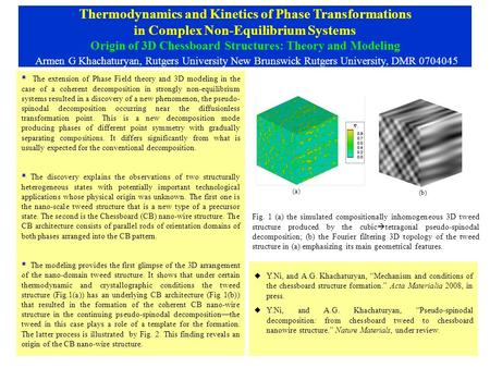 Thermodynamics and Kinetics of Phase Transformations in Complex Non-Equilibrium Systems Origin of 3D Chessboard Structures: Theory and Modeling Armen G.