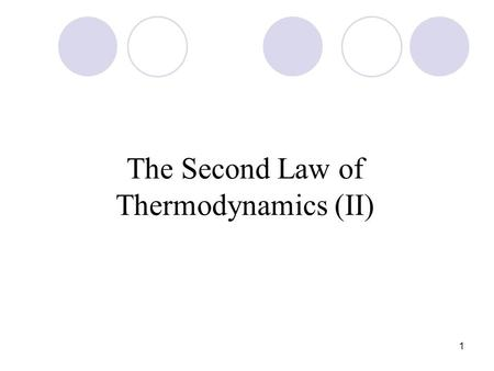 1 The Second Law of Thermodynamics (II). 2 The Fundamental Equation We have shown that: dU = dq + dw plus dw rev = -pdV and dq rev = TdS We may write:
