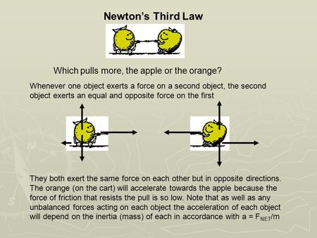 Newton's Third Law Whenever one object exerts a force on a second object, the second object exerts an equal and opposite force on the first Which pulls.