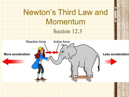 Newton's Third Law and Momentum Section 12.3. Review First and Second Laws 1.An object will remain at rest or in motion at constant velocity unless acted.