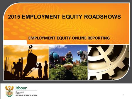 2015 EMPLOYMENT EQUITY ROADSHOWS EMPLOYMENT EQUITY ONLINE REPORTING 1.