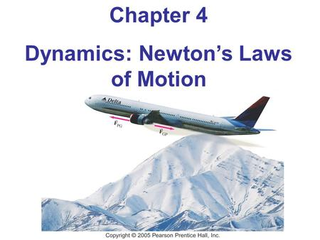 Chapter 4 Dynamics: Newton's Laws of Motion. Units of Chapter 4 Force Newton's First Law of Motion Mass Newton's Second Law of Motion Newton's Third Law.
