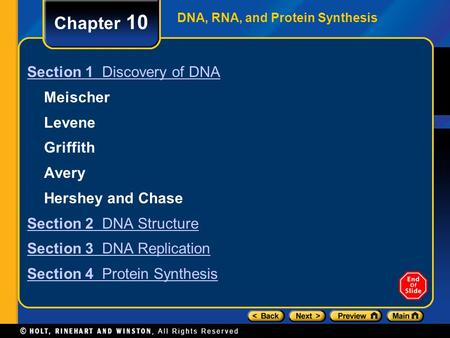 DNA, RNA, and Protein Synthesis Chapter 10 Section 1 Discovery of DNA Meischer Levene Griffith Avery Hershey and Chase Section 2 DNA Structure Section.