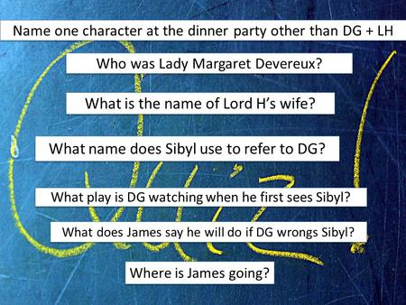 Name one character at the dinner party other than DG + LH Who was Lady Margaret Devereux? What is the name of Lord H's wife? What name does Sibyl use to.