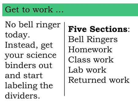 Get to work … No bell ringer today. Instead, get your science binders out and start labeling the dividers. Five Sections : Bell Ringers Homework Class.