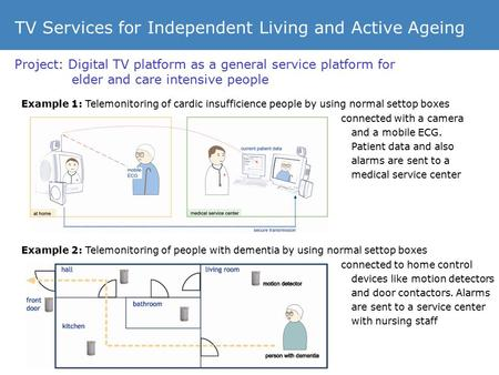 Project: Digital TV platform as a general service platform for elder and care intensive people TV Services for Independent Living and Active Ageing Example.