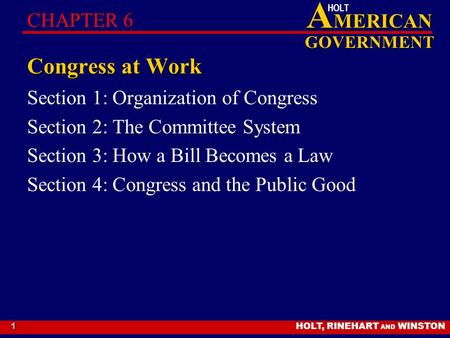 HOLT, RINEHART AND WINSTON A MERICAN GOVERNMENT HOLT 1 Congress at Work Section 1: Organization of Congress Section 2: The Committee System Section 3:
