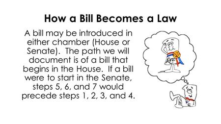 How a Bill Becomes a Law A bill may be introduced in either chamber (House or Senate). The path we will document is of a bill that begins in the House.