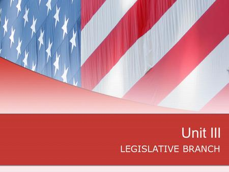 Unit III LEGISLATIVE BRANCH. CONGRESS PROJECT You will choose a topic to instruct the class. You must turn in INDIVIDUAL research on your topic worth.