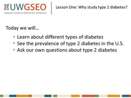 Lesson One: Why study type 2 diabetes? Today we will…  Learn about different types of diabetes  See the prevalence of type 2 diabetes in the U.S.  Ask.