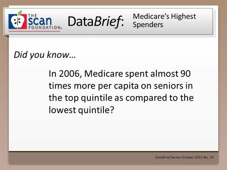 DataBrief: Did you know… DataBrief Series ● October 2011 ● No. 24 Medicare's Highest Spenders In 2006, Medicare spent almost 90 times more per capita on.