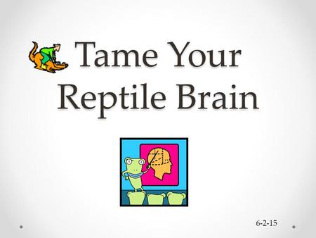 Tame Your Reptile Brain 6-2-15. Sources Bradberry, Travis and Jean Greaves. Emotional Intelligence 2.0. TalentSmart, 2009. Connors, Roger, et. al. The.