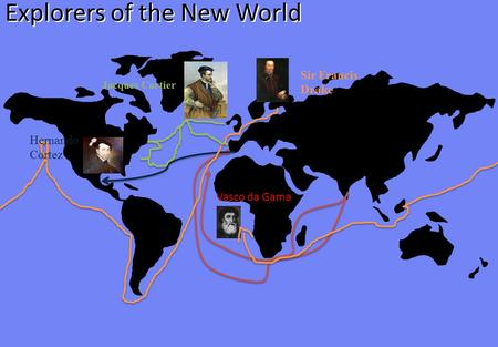 Explorers of the New World Vasco da Gama Sir Francis Drake Hernando Cortez Jacques Cartier.
