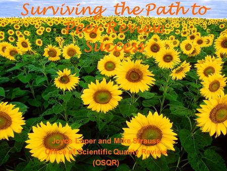 Joyce Loper and Mike Strauss Office of Scientific Quality Review (OSQR) Surviving the Path to Peer Review Success.