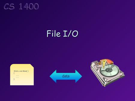 File I/O Static void Main( ) {... } data. Topics I/O Streams Reading and Writing Text Files Formatting Text Files Handling Stream Errors File Pointers.
