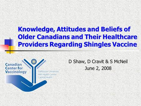 Knowledge, Attitudes and Beliefs of Older Canadians and Their Healthcare Providers Regarding Shingles Vaccine D Shaw, D Cravit & S McNeil June 2, 2008.