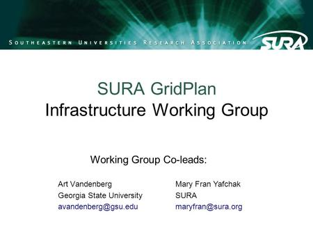 SURA GridPlan Infrastructure Working Group Art Vandenberg Georgia State University Mary Fran Yafchak SURA Working.