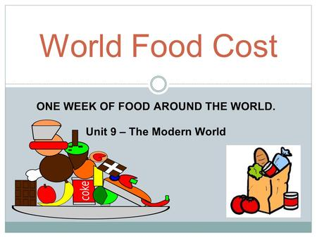 ONE WEEK OF FOOD AROUND THE WORLD. Unit 9 – The Modern World World Food Cost.